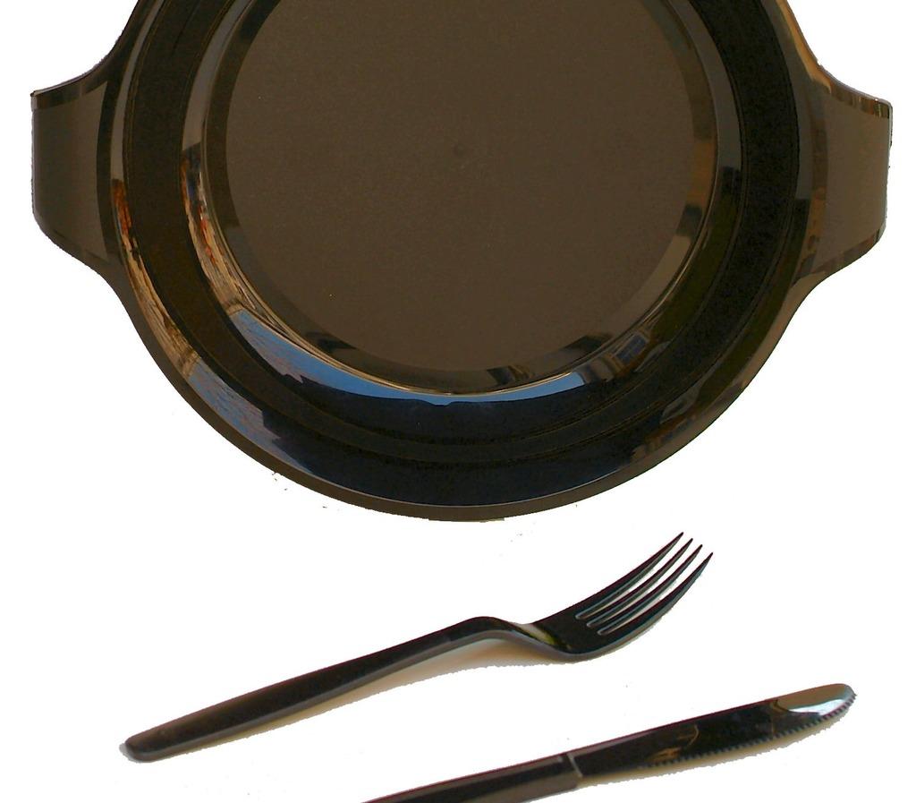 Plastic borden en bestek