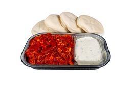 Gyrospakket met saus en pitabroodjes